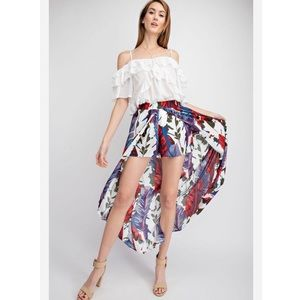 Dresses & Skirts - White Tropical Shorts Maxi Wrapped Skirt